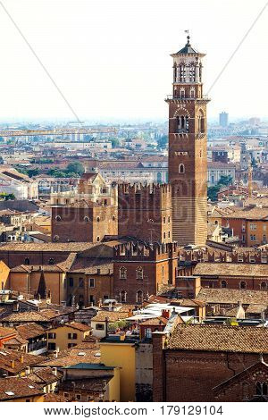 Beautiful view of Verona old town from castle San Pietro Veneto region Italy
