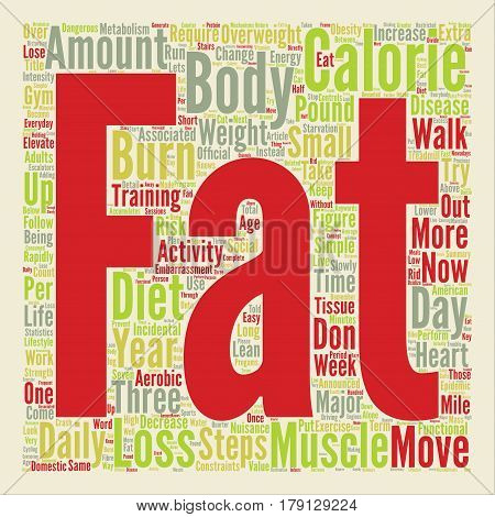 Three Simple Steps to Fat Loss text background wordcloud concept