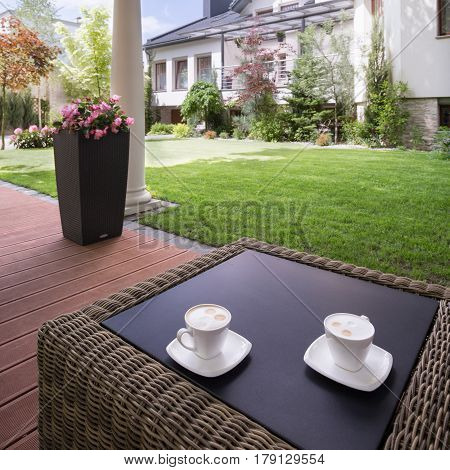 House Patio With Rattan Table
