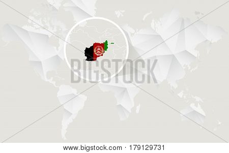 Afghanistan Map With Flag In Contour On White Polygonal World Map.