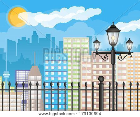 Modern city view. Cityscape with office and residental buildings, iron fence with street lamp, clouds, sky and sun. Vector illustration in flat style