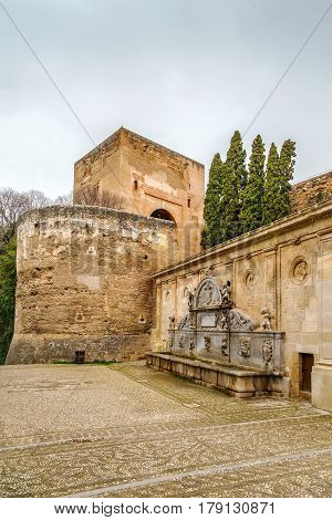 Pilar de Carlos V is fountain in Alhambra Granada Spain