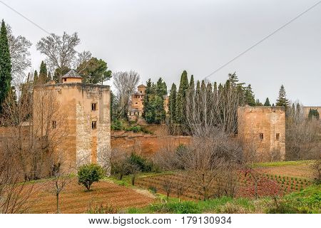 View of walls and towers of Alhambra Granada Spain