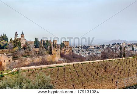 Panoramic view of Alhambra and Granada Spain