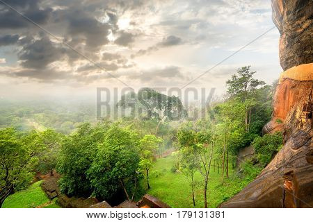 Park on the mountain of Sigiriya and clouds