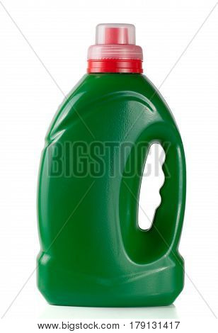 green plastic bottle isolated on white background for liquid laundry detergent or cleaning agent or bleach or fabric softener.