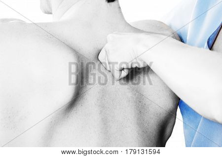 Physiotherapist Is Testing Low Dorsal In Silhouette Studio On White Background.,quick Scan