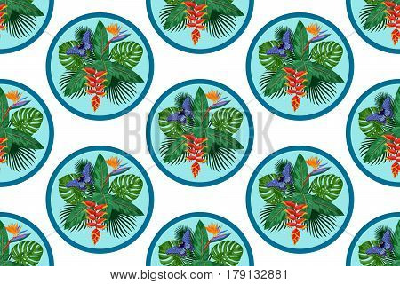 Seamless Pattern of tropical bouquet with flowers, leaves and butterfly isolated on white background. Tropic polka dot floral wallpaper.