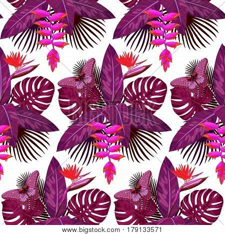 Seamless Pattern of pink tropical bouquet with flowers, leaves and butterfly isolated on white background. Romantic tropic floral wallpaper.