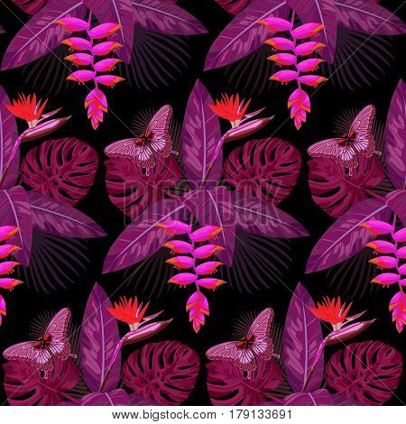Seamless Pattern of pink tropical bouquet with flowers, leaves and butterfly isolated on black background. Romantic tropic floral wallpaper.