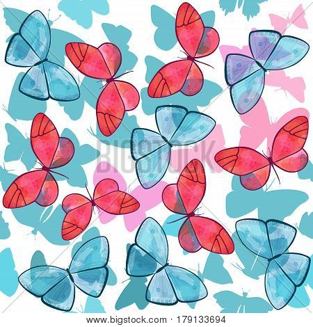 Seamless background pattern with many different butterfly silhouettes of various shapes, in teal blue and pink, with other butterflies with watercolor brush strokes