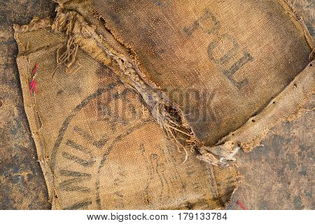 Old Dirty Hessian Sack Bag Stamped Used As Upholstery Material