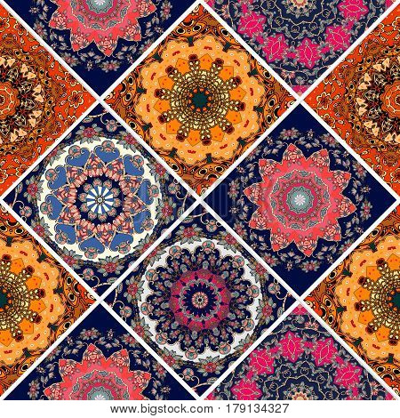 Seamless diagonal patchwork pattern in boho style with flower - mandalas. Print for fabric, paper, packaging design.