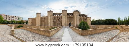 Aljaferia a fortified medieval Islamic palace in Zaragoza Spain