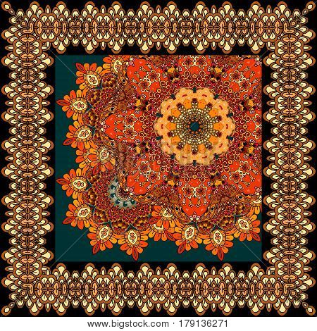Beautiful carpet or tablecloth with flower mandala and ornamental frame in indian style. Headband, handkerchief, square rug. Multicolor vector illustration.