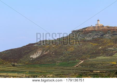 Ta' Ġordan Lighthouse, surrounded by the Maltese countryside in spring