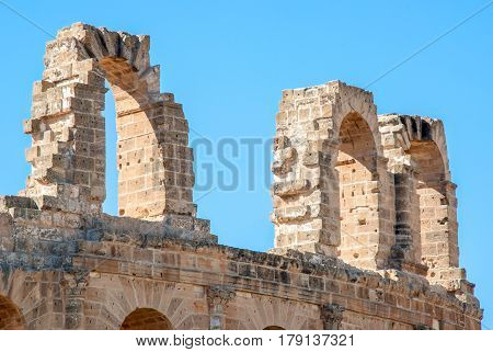 Walls of the old Coliseum in Tunis El Jem