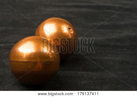 Pair Of Copper Chinese Balls Baoding