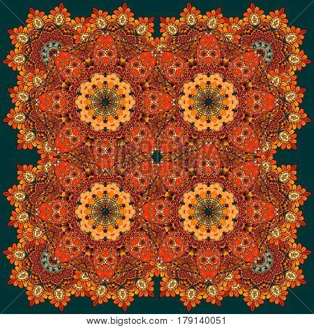 Beautiful russian pattern with fiery flowers. Carpet, tablecloth, blanket, pillowcase, headscarf, print for fabric, kerchief square design.