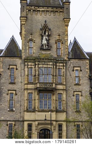 View of the Royal Victoria Patriotic Building a large victorian building in gothic style combining Scottish Baronial and French Châteauesque and built in 1859 as an asylum located in London United Kingdom.