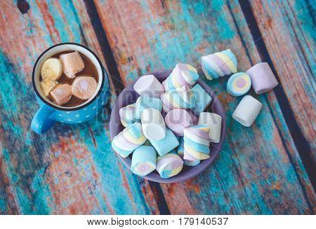 Marshmallow On Wooden Table