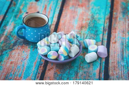Marshmallow On Table And Cup Of Coffee