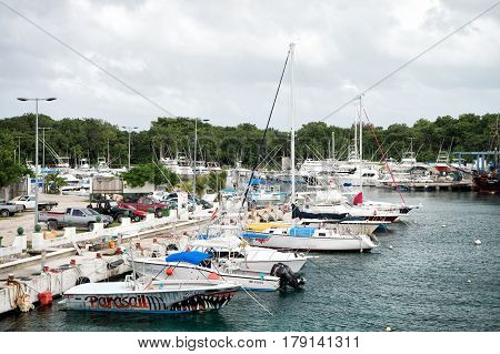 Yacht, Boat, Ship Transportation In Bay, Parking Car, Cozumel, Mexico