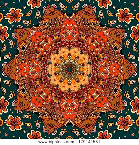 Square pattern with bright flower - mandala in fiery tones. Vector illustration. Shawl, scarf, carpet, lovely tablecloth.