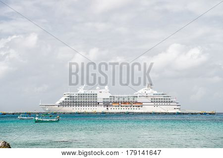 Large Cruise Ship In Bay On Water, Cozumel, Mexico