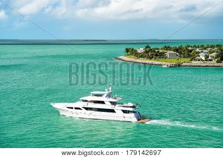 Touristic Yacht Floating Near Green Island At Key West, Florida