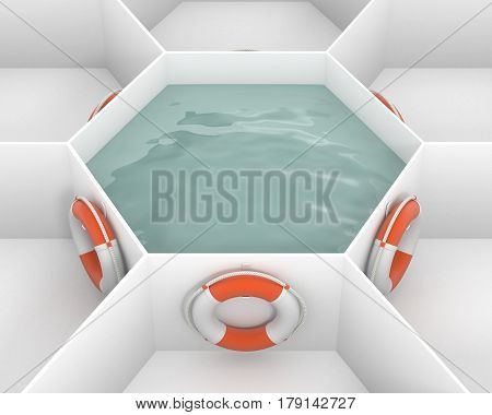 Six Life Saver buoy hanging at hooks around white hexagon cells with pool water. Life rings are willing to salvation. Concept and idea mockup background 3d image.