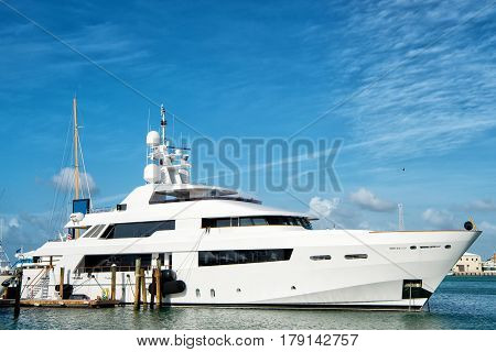 Yacht, Boat In Bay On Water, Key West Florida, Usa