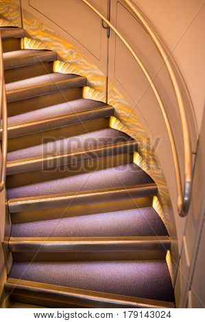 round stairs or ladder step curling with handrail modern architecture of tower or home building