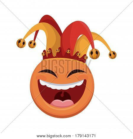 laughing face with jester hat over white background. april fools day concept. colorful design. vector illustration