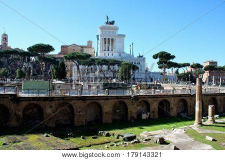 Trajan's Forum with Piazza Venezia in Rome