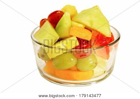 glass isolated assorted fruit bowl on white