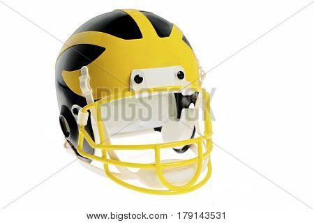 an isolated on white toy football helmet