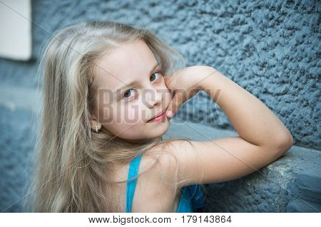 Small Baby Girl With Long Blonde Hair Outdoor