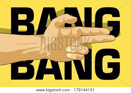 Bang bang hand. Gun hand gesture. Flat vector illustration