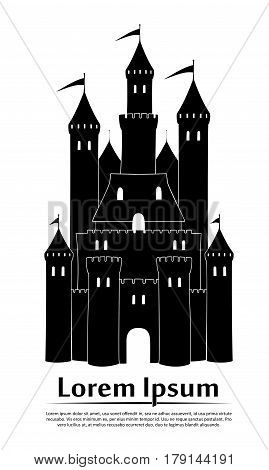 Medieval castle with walls and towers on white background logo icon. Flat vector illustration