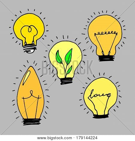 lamp, light yellow vector illustration poster black line