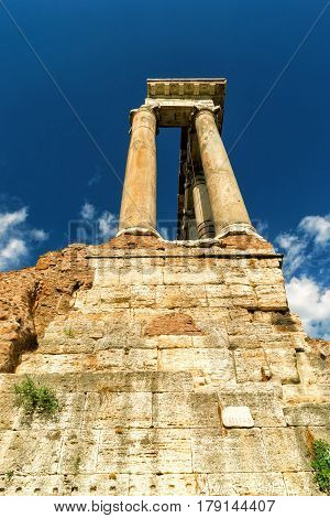 Ruins of Temple of Saturn in the Roman Forum in Rome, Italy