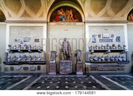 VATICAN - MAY 14, 2014: Antique statues in the Vatican Museum. Vatican City, Rome, Italy.