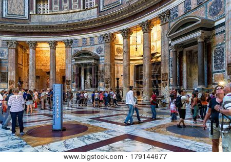 ROME, ITALY - OCTOBER 2, 2012: Inside the Pantheon. Roman Pantheon is a famous monument of ancient Roman culture the temple of all the gods built in the 2nd century.