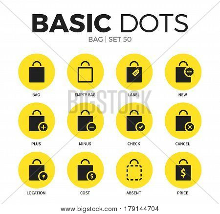 Bag flat icons set with cost bag form, check bag form, cancel bag form isolated vector illustration on white