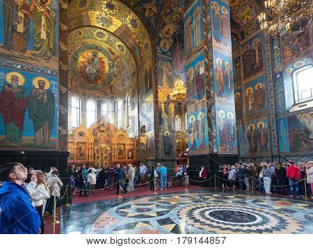 ST PETERSBURG, RUSSIA - JUNE 13, 2014: Church of the Savior on Spilled Blood (Cathedral of Resurrection). It is an architectural landmark of city and a unique monument to Alexander II the Liberator.