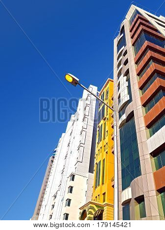 Street Pole Light And Brand New Residencial Buildings