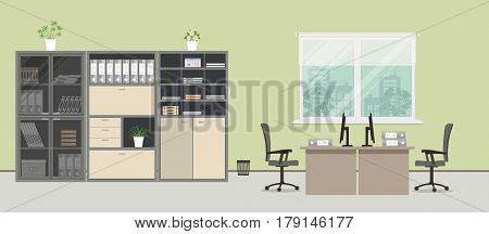 Office room in a green color. There are tables, gray chairs, cases for documents and other objects in the picture. Vector flat illustration.