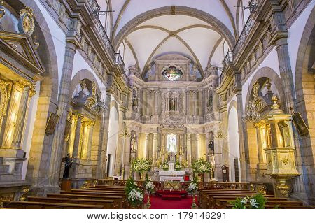 GUADALAJARA MEXICO - AUG 29 : The interior of Parroquia De Nuestra Senora Del Rosario church in Guadalajara Mexico on August 29 2016. The church was built in 1958