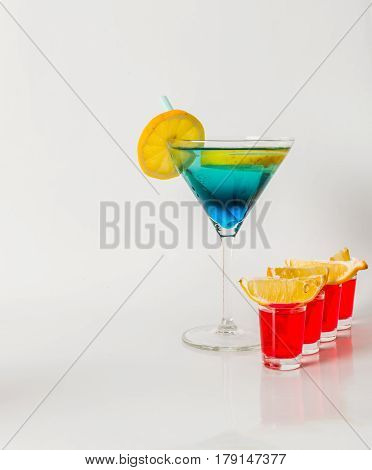 Colorful Drink In A Martini Glass, Blue And Green Combination, Four Drinks In A Shotglass, Party Set